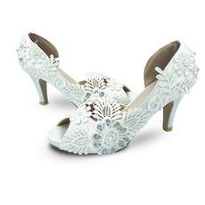 Satin große Hochzeitsschuhe Spitze Blume High Heels Hochzeitsschuhe Brautjungfer Schuhe