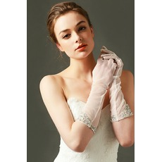 Tüll Schatten Bördeln Volle finger Mittellang Sexy Hochzeit Handschuhe