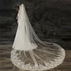Big Tail Brautschleier Hochzeitsfoto Schleier mit Haarkamm Spitze Applique Schleier