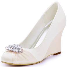 10 cm Wedge High Heels Damenschuhe mit dickem Absatz in Übergröße und Hochzeitsschuhe mit Bootsabsatz