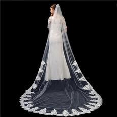 Elfenbein reinweiß Brautschleier High-End-Spitzenapplikation 3 Meter lange Schleier Hochzeit Accessoires