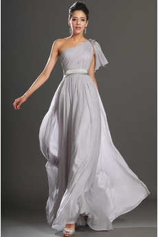 Drapierung Luxus A-Linie Sweep Zug Natürliche Taille Sommer Abendkleid