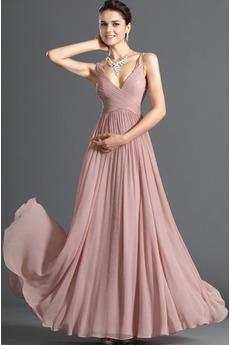 Elegant Drapierung Nelke Ärmellos Mittelgröße Chiffon Abendkleid