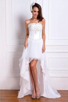 Schmuck dekorativ Mieder Drapierung Natürliche Taille Asymmetrisch Brautkleid