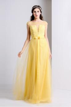 V-Ausschnitt A-Linie Applike Sweep Zug Natürliche Taille Brautjungfernkleid