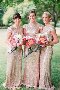 Sternenhimmel Natürliche Taille Bateau Etui Kurze Ärmel Pailletten-Kleid