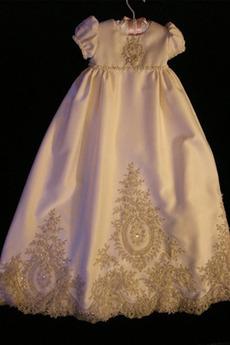 Kleine Größe Juwel Kurze Ärmel Formell Lange Spitze Taufe Kleid