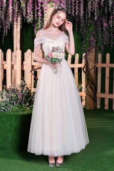 Rücken Schnürung Outdoor Kurze Ärmel Frühling Tüll Brautkleid