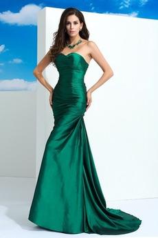 Ärmellos Lange Natürliche Taille Meerjungfrau Frühling Abendkleid