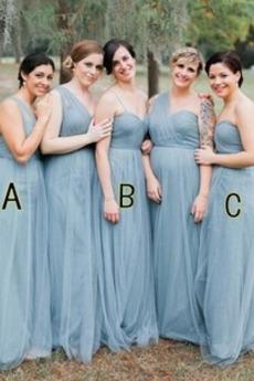 A-Linie Falte Mieder Ein Schulter Umgedrehtes Dreieck Brautjungfernkleid