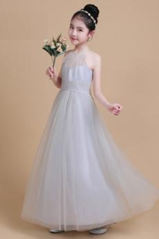 Tüll A-Linie Mittelgröße Drapierung Knöchellang Juwel Blumenmädchenkleid