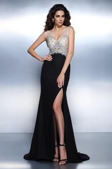 A-Linie Luxus Schmuck dekorativ Mieder V-Ausschnitt Lange Abendkleid