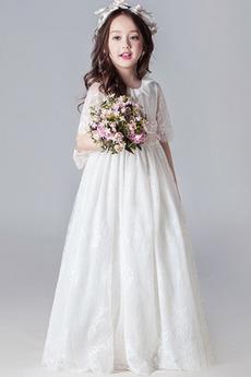 Natürliche Taille Spitzen-Overlay Spitze Jahr 2019 Blumenmädchenkleid