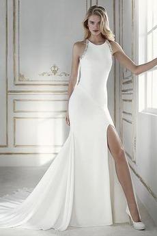 Kleine Größe Outdoor Satin Ärmellos Vorne Geschlitzt Sommer Brautkleid
