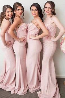 Natürliche Taille Elegant Ärmellos Etui Sweep Zug Spaghettiträger Brautjungfernkleid