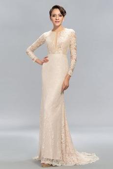 Lange Ärmel Juwel Sexy Spitze Spitzen-Overlay Etui Abendkleid