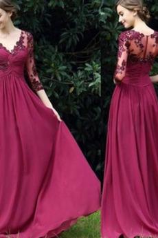 Spitzen-Overlay V-Ausschnitt Reißverschluss Spitze A-Linie Abendkleid