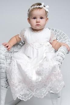 Sommer Lange Petite Typ Natürliche Taille Kurze Ärmel Taufe Kleid