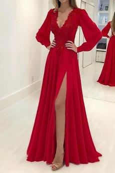 Lange Ärmel edel V-Ausschnitt Laterne Ärmel Rückenfrei Abendkleid
