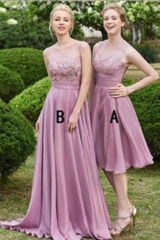 Drapierung Lange Umgedrehtes Dreieck Natürliche Taille Brautjungfernkleid