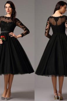 A-Linie Bateau Spitzen-Overlay Lange Ärmel Elegant Tüll Abendkleid