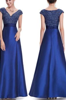 V-Ausschnitt Bodenlang A-Linie Pailletten Formell Kurze Ärmel Abendkleid