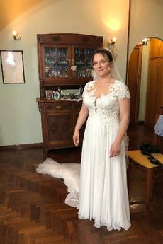 Brautkleid Schulterfrei Schmuck dekorativ Mieder Durchsichtige Rücken