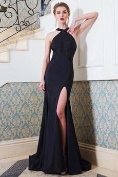 Juwel schlank Schlicht Natürliche Taille Split vorne Abendkleid