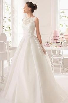 Durchsichtige Rücken Natürliche Taille Sweep Zug Halle Brautkleid