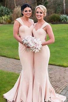 Meerjungfrau Satin Breiten Tragegurten Drapierung Ärmellos Brautjungfernkleid