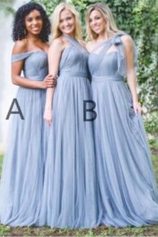 Umgedrehtes Dreieck Reißverschluss Natürliche Taille Schlicht Brautjungfernkleid