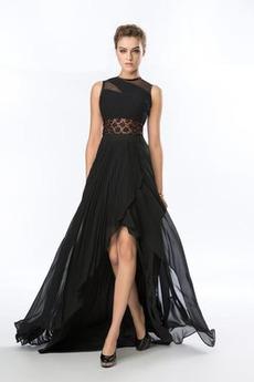 Durchsichtige Rücken Elegant Asymmetrisch Natürliche Taille Chiffon Abendkleid