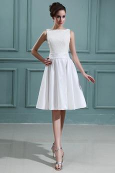 Weiß Bateau Schlicht Outdoor Knielang Frühling Brautkleid