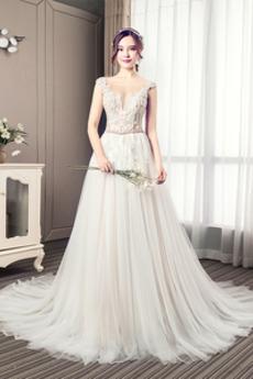 Spitzen-Overlay V-Ausschnitt Elegant Rücken Schnürung Sommer Brautkleid