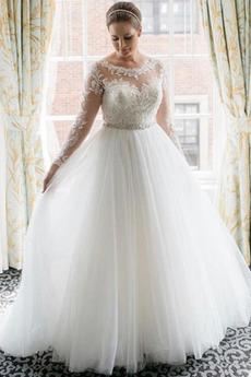 Brautkleid Tüll Applike A-Linie Strand edel Perlengürtel