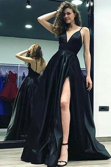 Natürliche Taille Satin Bodenlang Ärmellos V-Ausschnitt Sexy Abendkleid
