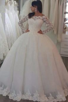 Stealth Ärmel Mittelgröße Bodenlang Reißverschluss Brautkleid