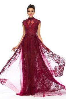 Hoher Kragen Durchsichtige Ärmel Herbst Spitzen-Overlay Lange Abendkleid