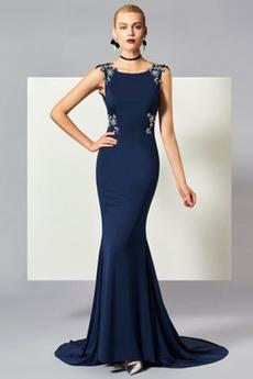Formell Juwel Natürliche Taille Frühling Meerjungfrau Abendkleid