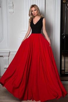 Mittelgröße V-Ausschnitt Ärmellos Natürliche Taille A-Linie Abendkleid
