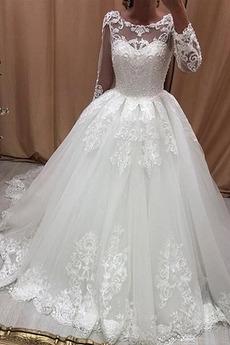 Durchsichtige Ärmel Sweep Zug Mittelgröße Lange Ärmel Brautkleid