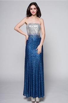 Trägerlos Mittelgröße Vintage Bodenlang Sternenhimmel Pailletten-Kleid