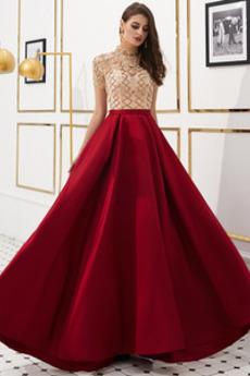 A-Linie Juwel Durchsichtige Ärmel Reißverschluss Kristall Abendkleid