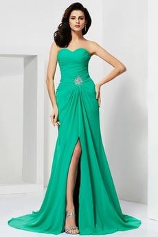 Natürliche Taille Split vorne Mittelgröße Trägerlos Schlicht Abendkleid