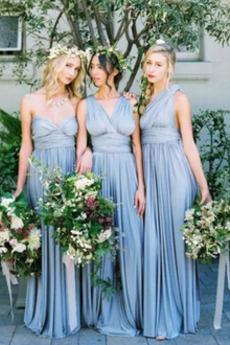 Falte Mieder Natürliche Taille Sweep Zug A-Linie Schlicht Brautjungfernkleid