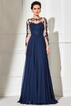 Durchsichtige Rücken Bateau Knopf Lange Ärmel Elegant Chiffon Abendkleid