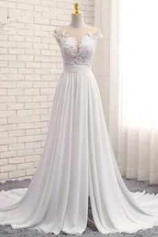 Sweep Zug Elegant Spitzen-Overlay Frühling Juwel Outdoor Brautkleid
