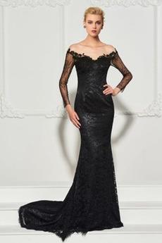 Natürliche Taille Meerjungfrau Durchsichtige Ärmel V-Ausschnitt Abendkleid