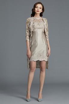 Knielang Juwel T-Shirt Formell Reißverschluss Etui Brautmutterkleid