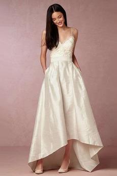 Rückenfrei Ärmellos Taft Outdoor Asymmetrisch Schlicht Brautkleid